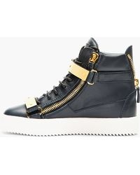 Giuseppe Zanotti Navy Leather Maylon High_Top Sneakers blue - Lyst