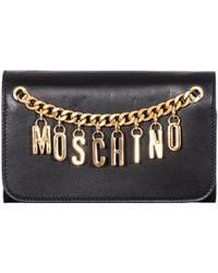 Moschino Black Shoulder Wallet gold - Lyst