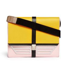 MSGM Oversize Colourblock Leather Shoulder Bag multicolor - Lyst