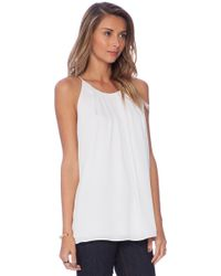 Milly White Pleated Tank - Lyst