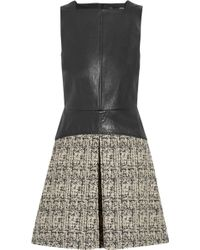 Proenza Schouler Leather and Cotton-blend Tweed Mini Dress - Lyst
