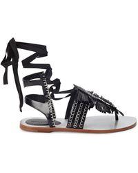 Daniele Michetti - Monochrome Fringed Leather Sandals - Lyst