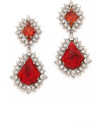 Dannijo Carrie Earrings  Silvercrystalitalian Ruby - Lyst