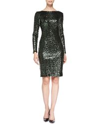 Badgley Mischka Collection Long-Sleeve Sequined Dress - Lyst