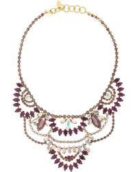 Elizabeth Cole Stephanie Gold-plated Amethyst and Crystal Necklace - Lyst