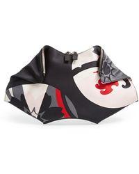 Alexander McQueen Women'S 'De Manta - Large Kansai' Silk Clutch - Black - Lyst