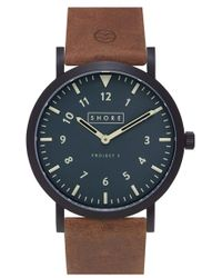 Shore Projects - 'morecambe' Leather Strap Watch - Lyst