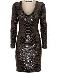 BCBGMAXAZRIA Sabryna Long Sleeve Python Sequin Dress - Lyst
