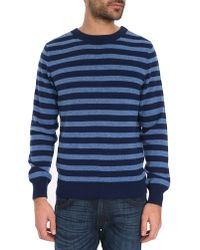 A.P.C. Round Neck Blue Striped Dominique Sweater In Wool & Cashmere - Lyst