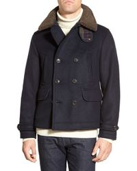Barbour - 'penston' Double Breasted Coat With Removable Faux Shearling Collar - Lyst