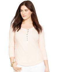 Lauren by Ralph Lauren Plus Size Three-Quarter-Sleeve Henley Top - Lyst