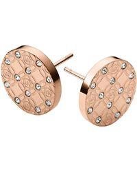 Michael Kors Rose Gold-Tone And Glitz Logo Etch Earrings - Lyst