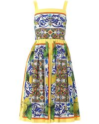 Dolce & Gabbana Lemon Sicilianprint Fullskirt Dress - Lyst