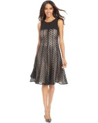 Anne Klein Petite Solid-yoke Lace Dress - Lyst