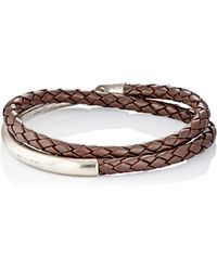 Caputo & Co. - Sterling Silver & Braided Leather Double-wrap Bracelet - Lyst
