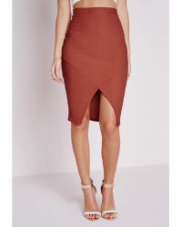 Missguided Textured Wrap Front Midi Skirt Rust - Lyst