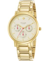 Kate Spade Gramercy Grand Goldtone Stainless Steel Chronograph Bracelet Watch gold - Lyst