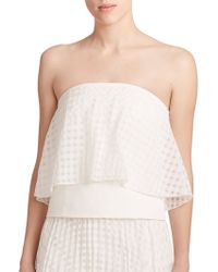 Tibi Windowpane Check Strapless Top white - Lyst
