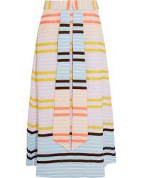 Suno Striped Matelassé Midi Skirt - Lyst