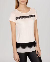 Karen Millen Top - Contrast Lace Inset pink - Lyst