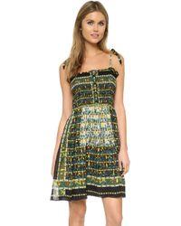 Anna Sui | Garden Square Smock Dress - Black Multi | Lyst