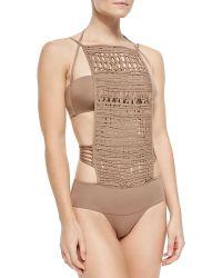 La Perla Crochet-Front Monokini Swimsuit - Lyst