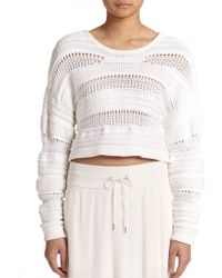 Helmut Lang Open-Knit Cropped Sweater - Lyst