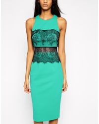 Asos Crop Top Lace Scuba Dress - Lyst
