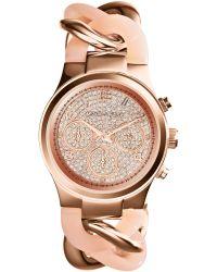 Michael Kors Women'S Chronograph Runway Twist Blush And Rose Gold-Tone Stainless Steel Bracelet Watch 34Mm Mk4283 - Lyst