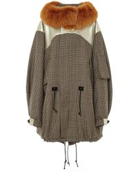 Rodarte Wool Tweed And Leather Anorak With Yellow Fox Fur Collar - Lyst