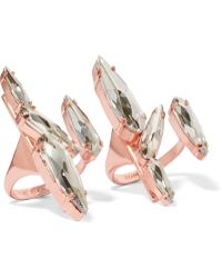 Ryan Storer - Set Of Two Rose Gold-plated Swarovski Crystal Rings - Lyst