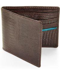 Isaac Mizrahi New York | Chocolate Lizard Embossed Bi-Fold Wallet | Lyst