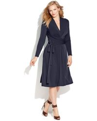 Michael Kors Michael Plus Size Longsleeve Fauxwrap Dress - Lyst