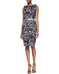 Byron Lars Beauty Mark - Twist-Neck Belted Floral-Print Sheath Dress - Lyst