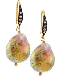 Margo Morrison - Natural Baroque Pearl & Sapphire Drop Earrings - Lyst
