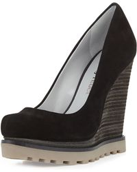 Luxury Rebel Syri Suede Stacked Wedge - Lyst