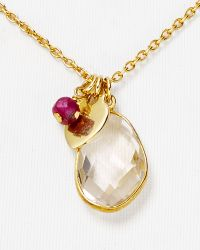 "Argento Vivo Heart Charm Necklace, 16"" gold - Lyst"