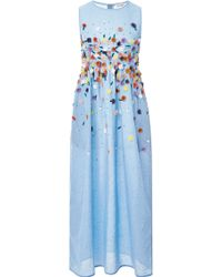 Suno Embroidered Chambray Midi Dress - Lyst