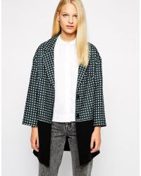 Helene Berman Colour Block Collar Revere Coat - Lyst