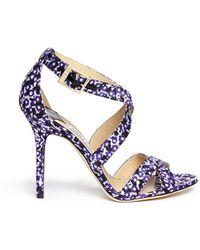 Jimmy Choo 'Lottie' Floral Leopard Jacquard Sandals purple - Lyst