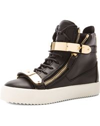 Giuseppe Zanotti Leather Bucked Sneakers - Lyst