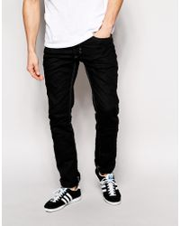 Diesel Jeans Made In Italy Thavar Slim Tapered Fit 837Z Stretch Black - Lyst