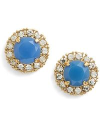 Kate Spade 'Secret Garden' Mixed Stone Stud Earrings - Ocean Blue/ Clear - Lyst