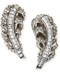 Oscar de la Renta Pave Crystal Feather Clipon Earrings - Lyst