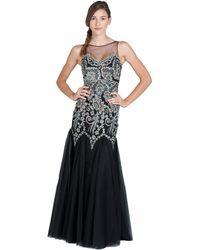 Badgley Mischka Caviar Sequins Beaded Evening Gown - Lyst