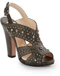 Prada Studded Leather Sandals - Lyst