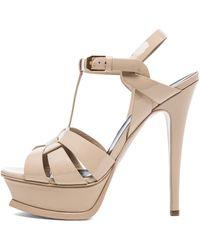 Saint Laurent Tribute Patent Leather Platform Sandals - Lyst