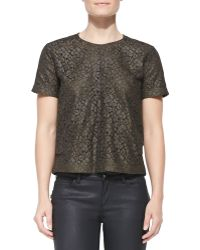 Belstaff Short-Sleeve Coated Lace Top - Lyst