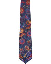 Duchamp Paisley Floral Silk Tie Navy - Lyst