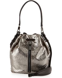 Elizabeth And James Cynnie Snake-print Mini Bucket Bag - Lyst